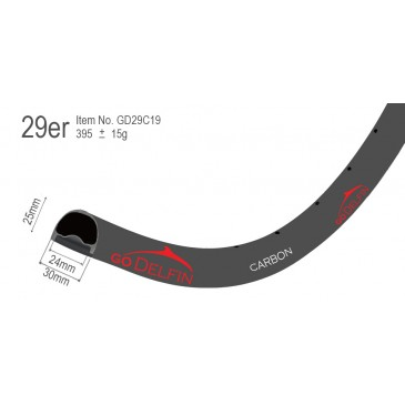 29 x 30mm - New U shape design. This is a very popular lightweight carbon fiber 29er.  Cross country, all-mountain, enduro, and marathon mountain bikes.